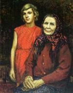 Ветеран труда Д.Г.Корольчук с внучкой Мариной